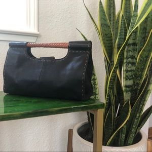 Fossil brand, black leather with woven handle.